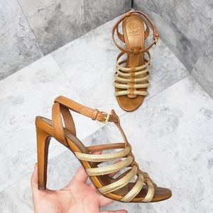 Tory Burch Charlene Brown and Gold Gladiator Heels